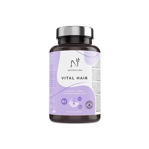 Biotina & Champú con extracto de cebolla VITAL HAIR. Tratamiento Nº 1 anticaída de Europa. Biotina, Zinc, vitamina B5, Mijo y Selenio. Suplemento Vitamínico para crecimiento de Cabello, Piel y Uñas.