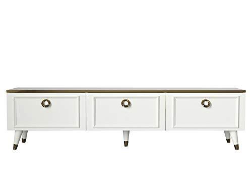 Alphamoebel moebel17 5187 Cornelia TV Lowboard Board Fernsehtisch Tisch Wohnwand, Weiß, Holz, viel Stauraum mit 3 Türen, für Wohnzimmer, Designerstück, runde Türgriffe, mit Füße, 180 x 46,5 x 35 cm