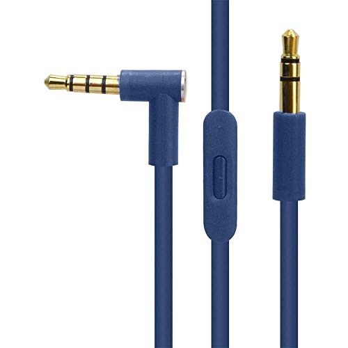 Nrpfell Replacement Audio Cable with in Line Mic Control for By Dr Dre Headphone Solo/Studio/Pro/Detox/Blue