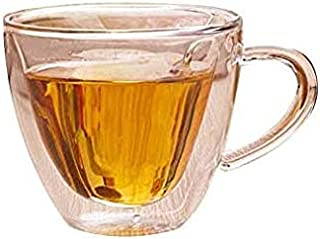 Heart Shape Clear Double Layer Glass Tea Coffee Cup with Handle and Saucer Transparent Water Wine Mug Milk Cups Bar Drinkw...