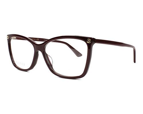 Gucci Unisex – Erwachsene GG0025O-007-56 Brillengestell, Bordeaux, 56