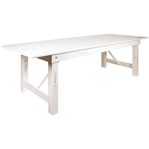 Flash Furniture HERCULES Series 9' x 40' Rectangular Antique Rustic White Solid Pine Folding Farm Table