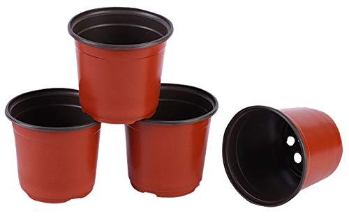 AIEOE 10 Stück Mini Blumentöpfe D9cm Pflanzentopf Runde Töpfe Recycelbar Rot Schwarz Anzuchttöpfe Kunststoff Saattöpfe Rundtöpfe