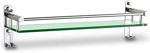 LYMUP Estante de baño, Cuarto de baño Estante de Vidrio de baño con Gancho de Pared, Cepillado S304 Acero Inoxidable 3 Tamaño Baño Opcional Estante de baño (Size : 51cm)