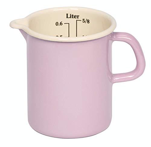 Riess, 0337-006, Küchenmaß 9 0,5 L, CLASSIC - BUNT/PASTELL, Farbe Rosa, Durchmessser 9 cm, Höhe 12 cm, Inhalt 0,5 Liter, Emaille, Messbecher