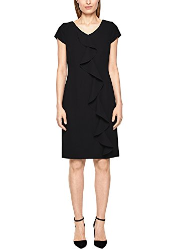 s.Oliver BLACK LABEL Damen Crêpe-Kleid mit Volantbesatz Black 36
