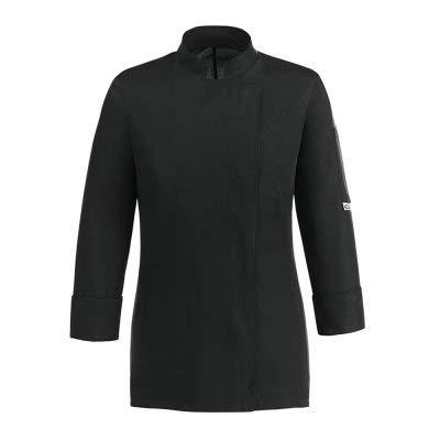 EGOCHEF Chaqueta de cocinero para mujer, 100% microfibra, negra, con botones automáticos, manga larga y espalda transpirable en Air Plus Negro XL