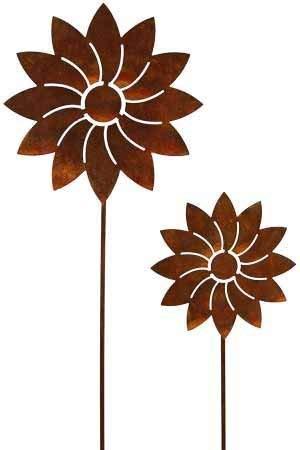 Rost Blume Modern 57 Stecker Dekoration Edelrost Garten Metall