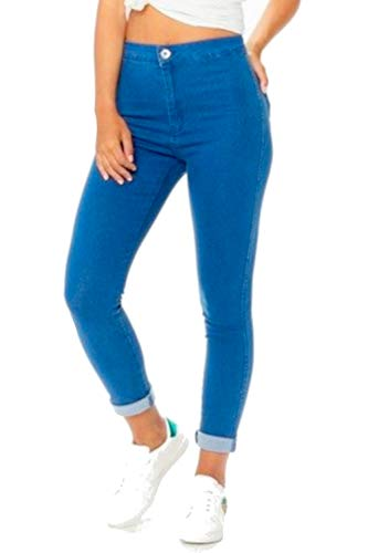 HIGHLAND FASHION LTD Ripped Skinny Jeans Damen Mädchen Damen Celeb Stretch Ripped Skinny High Waist Denim Hosen Jeans Hose Jeans 34-44 mit Tags Gr. 46 DE, Cool Blue Plain Fold Jean 011