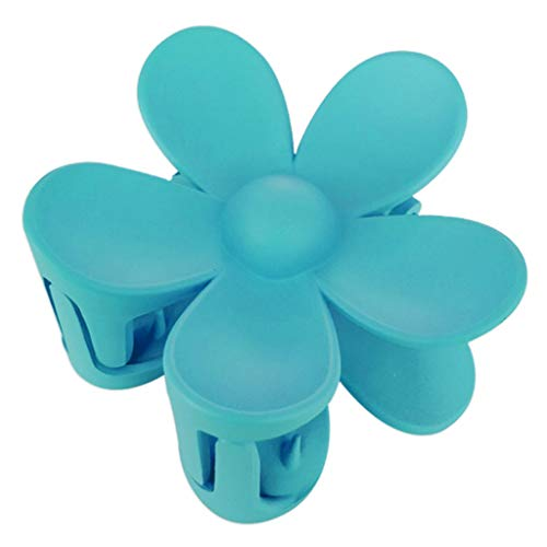 Niumanery Matte Colorful Flower Pattern Hairpin Cute Candy Color Hair Jaw Clip for Girls Blue