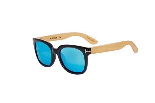Rainbow Safety - Gafas de sol polarizadas con espejo de madera, estilo vintage, para mujer y hombre, RWC-Blue-Mirror