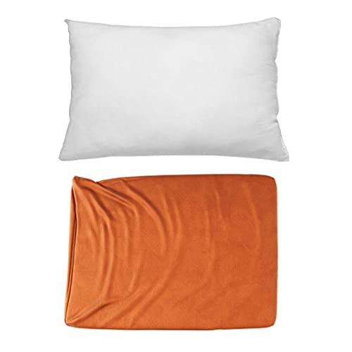 Cojines Sofa con Relleno Incluido Pack de Cojin + Funda de 35x50 en Color Ocre / Cojines Decorativos para Sofa , Cama , Salon / Fundas de Terciopelo Elegantes para la decoración del hogar
