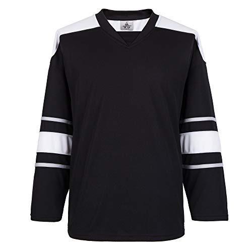 EALER H900-W Series Blank Ice Hockey League Sports Practice Jersey for Men - Adult and Youth(Black,Goalie)