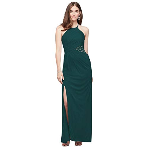 High-Neck Mesh Bridesmaid Dress with Lace Inset Style F19985, Gem, 6