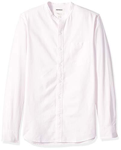 Marca Amazon – Goodthreads – Camisa Oxford con cuello en banda de manga larga de corte entallado para hombre, Rosa (Pink Pin), US S (EU S)
