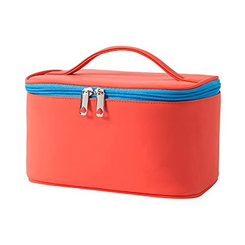 YIKEY Neceser de viaje portátil para cosméticos, organizador de maquillaje, Color naranja y rojo., 22*12*14cm/8.66*4.72*5.51in,