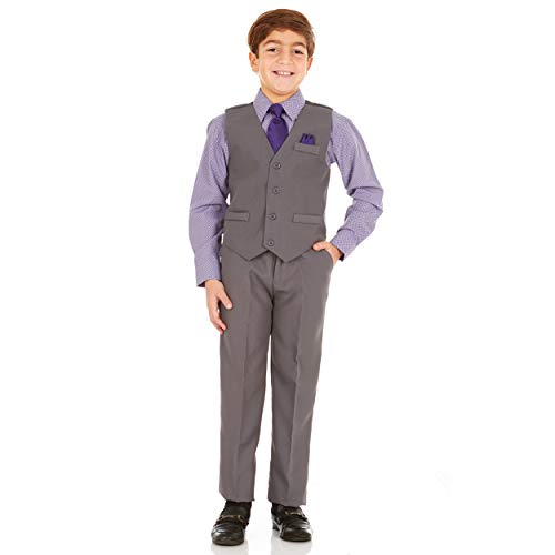 Vittorino Boys 4 Piece Holiday Suit Set with Vest Shirt Tie Pants and Hankerchief, Grey/Blue Purple, 6