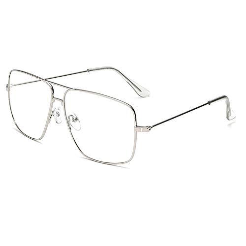 Dollger - anteojos clásicas con montura de metal sin receta para hombre y mujer, Marco plateado+lentes transparentes., Estandar