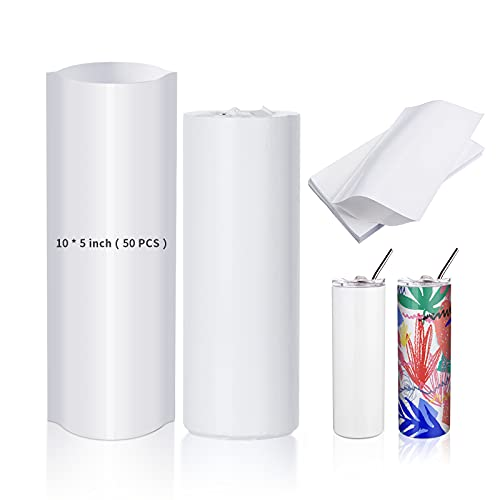 PYD Life Sublimation Shrink Wrap Sleeve White Bags 10 x 5 Inch for Print by Oven,50 PCS,Sublimation Shrink Wrap Film for 20 OZ Sublimation Skinny Tumbler,Heat Transfer Shrink Wrap