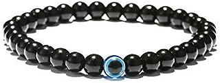 REBUY® Black Tourmaline Bracelet with Evil Eye Stone 8 mm Beads Reiki Crystal Healing Stone Bracelet for Men and Women