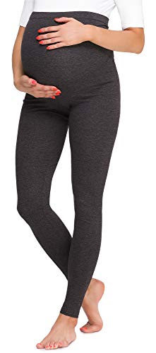 Be Mammy Mallas Leggins Premamá Largos BE20-257(Melange Oscuro, S)