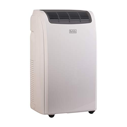Black + Decker 8000 BTU Portable Air Conditioner Unit, Remote, LED Display, Window Vent Kit, 4 Caster Wheels, White (Renewed)