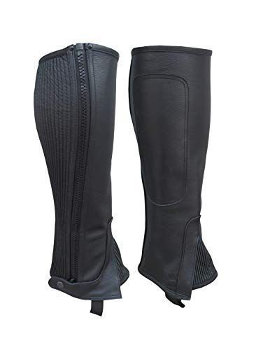 A&H Apparel Unisex Adult Leather Half Chaps Black and Brown (Black, Medium)