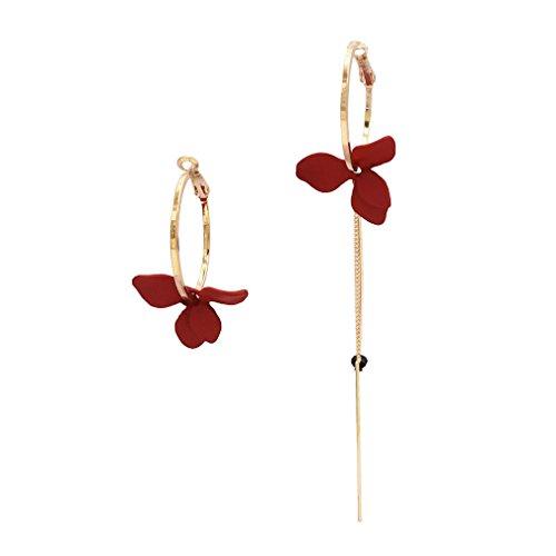 Yazilind mujeres gota cuelgan pendientes bohemios flor de acrílico colgante largo pendientes de aro declaración playa vintage joyería rojo