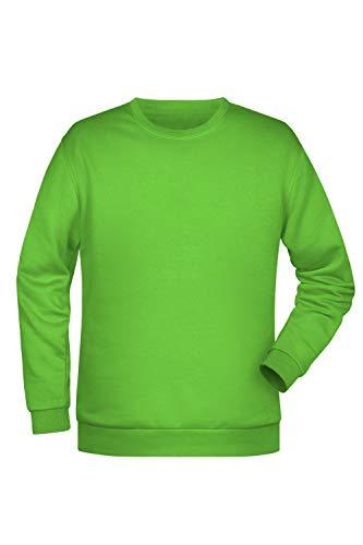 Sweatshirt Homme Sweat Shirt Basic Uni Coton Manches Raglan Basiques en Lime-Green Taille: 3XL