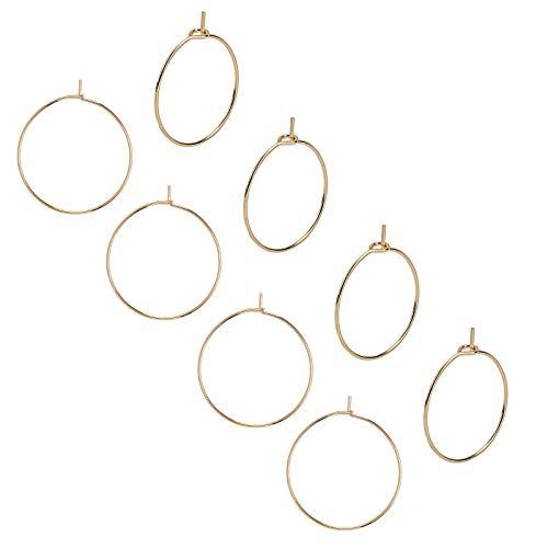 UNICRAFTALE 50pcs 25mm Golden Wine Glass Charms Rings Anillos de Acero Inoxidable Aro de Pendientes de 0.7 mm Pin Earring Beading para Mujeres Wives Hoop
