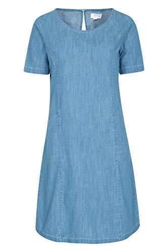 Mountain Warehouse Robe d'été en Denim Flora pour Femme - 100% Coton, légère, Respirante, Coupe décontractée, Encolure Ras-du-Cou - Idéale pour l'extérieur Denim 44