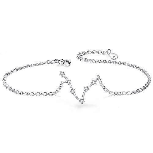 Clearine Armkette Sternzeichen 925 Sterling Silber CZ 12 Sternbild ''Fische'' Einfach Stil Armband für Damen Mädschen