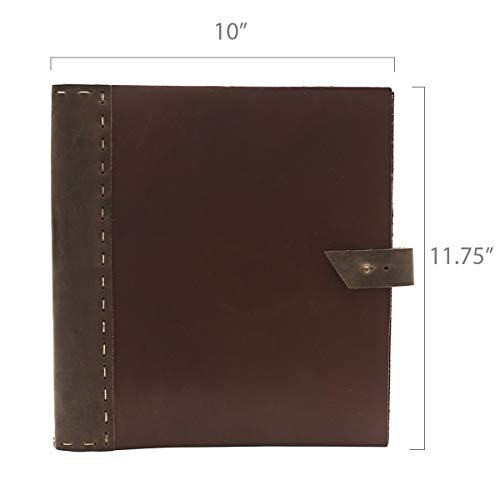 "Rustic Leather Binder Handmade by Rustico in The USA, Handsewn,Thick, Rich Top-Grain Leather, 3 Ring Spine, 1.5"" Rings, Protect and Store Important documents (Thick Cinnamon & Dark Brown)"