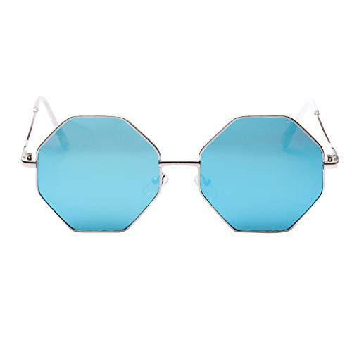 Sonnenbrille Modische Damen Vollrand Achteckige Linse Mode einzigartiges Design Brillen Zubehör charmante Damen Sommer tragen(D,free)