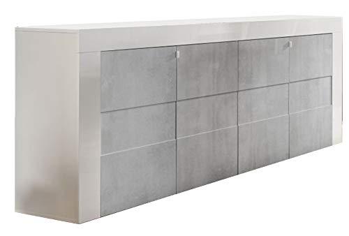 Linnea Leasy lacado blanco y beton para sala de comedor moderna: el aparador de 4 puertas