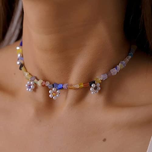 Ushiny Boho Grava Turquesa Collar Colorido Collar de Piedra Natural Perla Flor Colgante Collar Cadena de Joyería para Mujeres y Niñas