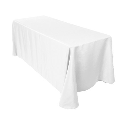 Mantel rectangular de algodón y poliéster, 229 x 335 cm, de la marca Wedding Supply , tela, sencillo, Blanco