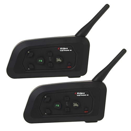QIAOZHOO 2 PCS V4-1200 1200m Leben Wasserdicht Windabweisend Bluetooth Sprechanlage-Kopfhörer for Motorrad-Sturzhelm, Max Support: Vier Reiter, Unterstützt FM