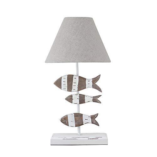 Tischlampe FISCHE braun weiß aus Holz mit Holzfischen maritim Hamptons Long Island