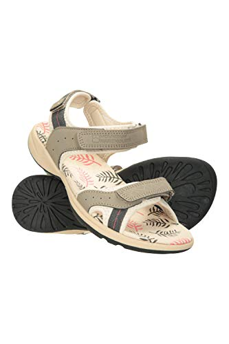 Mountain Warehouse Sandalia Athens Estampada para Mujer - Calzado Transpirable, Forrado de Neopreno, Suela de Goma, Correas de Velcro Ajustables - Ideal para Deporte Beige Talla Zapatos Mujer 40 EU