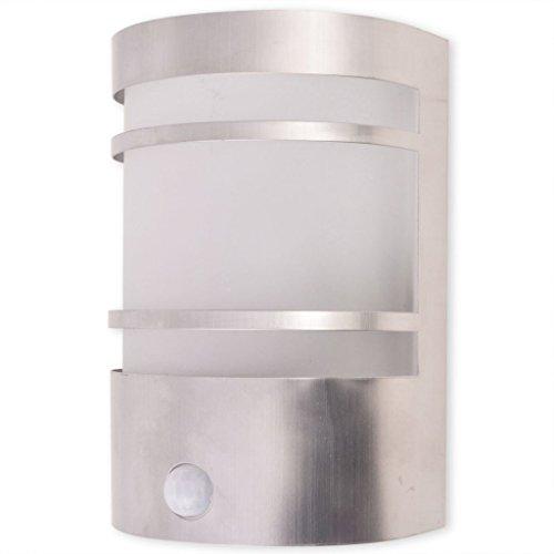 vidaXL Buitenwandlamp met Sensor RVS Buitenverlichting Tuinlamp Lamp Tuinlicht