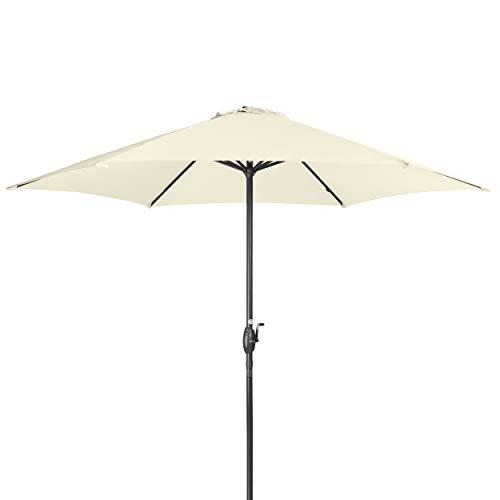 Doppler Derby Basic Lift NEO 300 cm - Großer, runder Sonnenschirm für den Garten - Mit Kurbel - Regenabweisend - ca. 300 cm - Natur