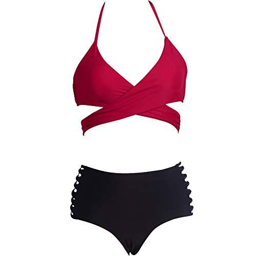 Bikini de Traje de Baño para Mujer Bikini de Tirantes Bikini de Cintura Alta de Dos Piezas,