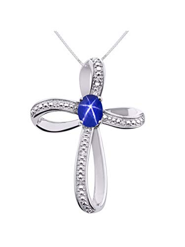 Diamond & Blue Star Sapphire Cross Pendant Necklace Set In Sterling Silver .925 with 18' Chain