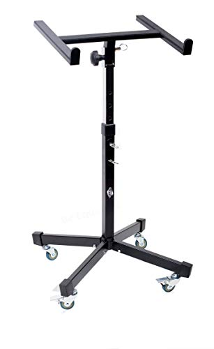 Studio Mixer Stand DJ Cart by GRIFFIN | Rolling Standing Rack On Casters with Adjustable Height | Portable Turntable Holder | Mobile Mount For Digital Drum Machine, Mixing Audio Gear & Music Equipment