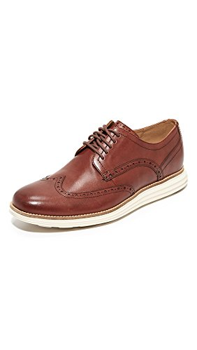Cole Haan Men's Original Grand Shortwing Oxford Shoe, Woodbury Leather/Ivory, 10 Medium US
