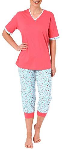 Normann Damen Capri-Pyjama Kurzarm - auch in Übergrössen erhältlich bis Grösse 60/62-191 204 90 214, Farbe:pink, Größe2:36/38