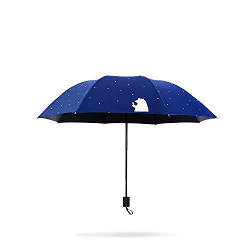 RH-HPC Impermeable a Prueba de Agua Paraguas for Mujeres Viajes Compacto Plegable Paraguas Protección contra Rayos UV for Sol Recubrimiento Anti UV con Pegamento Negro a Prueba de Viento Paraguas