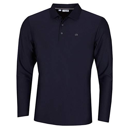 Calvin Klein Herren Langarm-Licht Zentrale Golf-Polo-Hemd - Marine - L