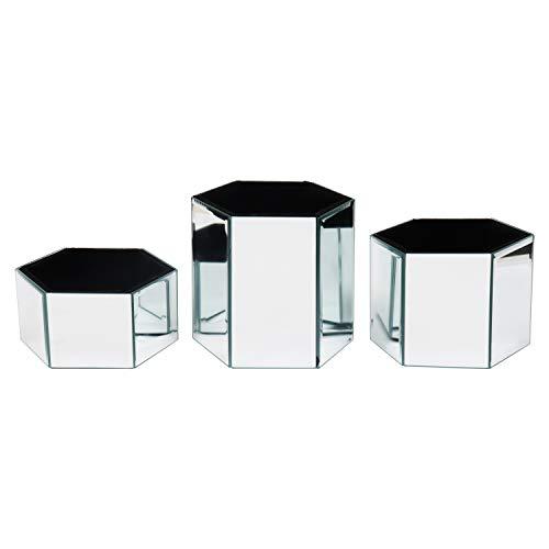 Kurtzy Kosmetik Organizer (3 Pack) - Silberne gespiegelte, Sechseck Geformt Aufbewahrungsbehälter für Kosmetikpinsel und Schmuckzubehör - Große, Mittlere und Kleine Make-up-Halter für Den Frisiertisch